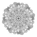 Round element for coloring book. Black and white floral pattern. Royalty Free Stock Photo
