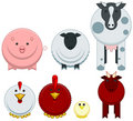 Round farm animals Stock Photo