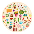 Round farm flat banners depicting life in countryside animals isolated vector illustration Royalty Free Stock Photo