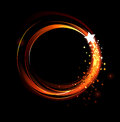 Round fiery banner abstract of red fire and stars on a black background Royalty Free Stock Photography