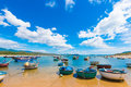 Round fishing boats by the shore, Vietnam Royalty Free Stock Photo