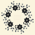 Round floral frame with stylish flowers, leaves and stars Royalty Free Stock Photo
