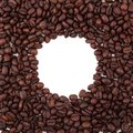 Round frame from coffee beans Royalty Free Stock Images