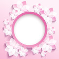 Round frame with 3d pink sakura, greeting card