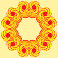 Round frame with decorative elements of red and yellow shades Royalty Free Stock Photo