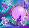 Round frame flowers and butterflies violet Stock Photography