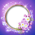 Round frame and flowers golden Stock Photos