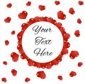 Round Frame with Flying Red Hearts Copy Space