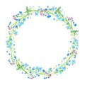 Round frame of a forget-me-not flowers.