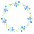 Round frame with forget-me-nots flowers.