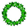 Round frame of green leaves. Paper cut style. Vector