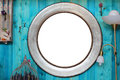 Round frame in the interior vintage metallized on wooden wall with embellishments and items Stock Image