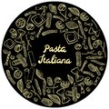 Round frame with italian macaroni of different kinds. light yellow coloured hand draw on black background