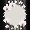 Round frame with orchids Royalty Free Stock Photo