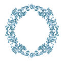 Round frame ornamental floral blue color decorative antique style vintage vector illustration Stock Photography