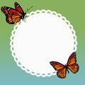 Round frame with a pair of butterflies on a green blue backgroun Royalty Free Stock Photo