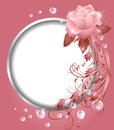 Round frame and rose floral ornament Stock Images