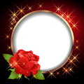 Round frame and rose red Royalty Free Stock Photos