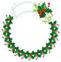 Round frame in shape of wreath with holly berry and pine cones.