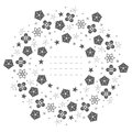 Round frame with snowflakes, flowers, stars and decorative eleme