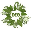 Round frame with Tropical leaves on a white background. Ecology logo