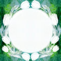 Round frame of tulip flowers. Abstract wallpaper with floral motifs. Watercolor background. Wallpaper.