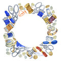 Round frame with various vintage objects for sewing, handicraft and handmade.