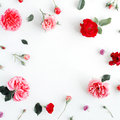 Round frame wreath pattern with roses, pink flower buds, branches and leaves isolated on white background Royalty Free Stock Photo