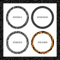 Round frame, Zebra pattern, Circle border template set, for design of cover or banner. Vector Royalty Free Stock Photo