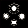 Round frames set of snowflakes silver ornamental vignettes Royalty Free Stock Photo