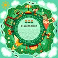 Round geometric concept of kids playground with play elements and sample text