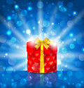 Round gift box on light background with glow illustration Royalty Free Stock Images
