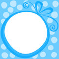 Round gift frame border greeting card with a and a polka dot background Royalty Free Stock Images