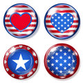 Round glass buttons with USA symbols Royalty Free Stock Photo