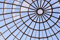 Round glass roof. Modern architecture. Blue color Royalty Free Stock Photo