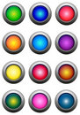 Round Glossy Buttons set  Stock Photos