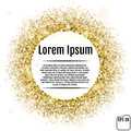 Round gold frame or border of random scatter golden stars on white background. Design element for festive banner, birthday and gr Royalty Free Stock Photo