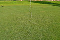 Golf Green A Ball Close To The Flag And Hole Royalty Free Stock Photo