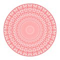 Round gradient mandala on white isolated background. Vector boho mandala in red colors. Mandala with floral patterns
