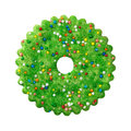 Round Green Christmas Cookie