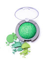 Round green crashed eyeshadow for make up as sample of cosmetics product