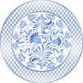 Round gzhel blue floral pattern in style vector illustrations Stock Photo