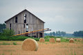 Round Hay Bails in Field Royalty Free Stock Photo