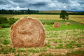 Round hay bale large bales in the field in willamette valley oregon Stock Photo