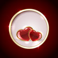 Round with hearts red background shiny inside circle illustration Royalty Free Stock Photography