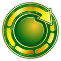 Round icon with arrow abstract green gold Royalty Free Stock Image