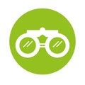 Round icon binoculars cartoon Royalty Free Stock Photo