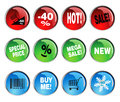 Round icon sets for discount prices with text Stock Photo