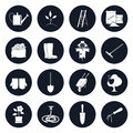 Round Icons Garden Tools and Equipment