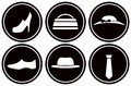 Round icons with male and female clothes set black Stock Photography